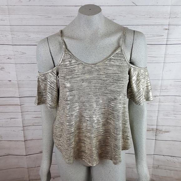 a555e1a8d3dfa4 Bar III woman s Gold Metallic Cold Shoulder V Neck